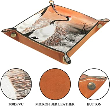 Leather valet Tray Multi-Purpose storage box Tray Organizer Used for storage of small accessories,crane