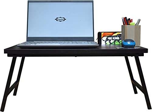 POPULAR Multipurpose Laptop Table GeniusL250 Large Working Area Durable Sturdy Structure with Media Dock Foldable Design with Wooden Easel Mobile Stand Scale Free Dark Coffee