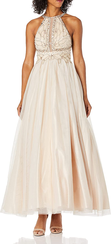 Betsy Adam Women's Long Luxury goods Dress Beaded Ranking TOP17 Mesh Halter