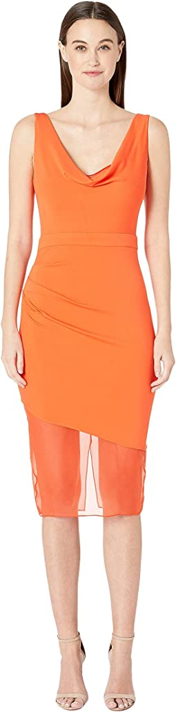 Sleeveless Pencil Dress with Front Cowl and Chiffon
