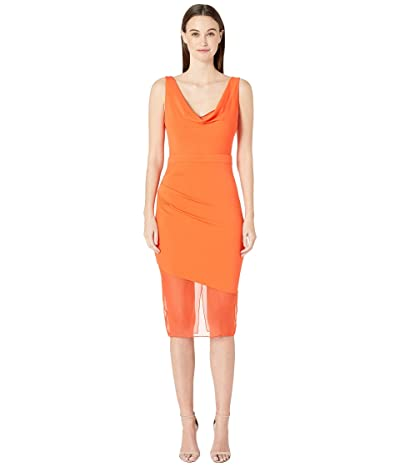 Cushnie Sleeveless Pencil Dress with Front Cowl and Chiffon (Clementine) Women
