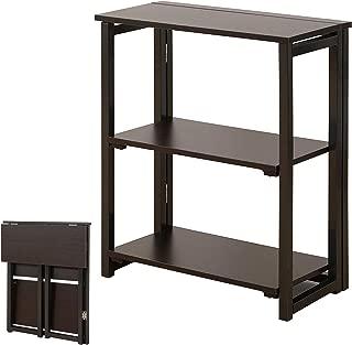DELMANGO Folding Bookshelf Rack 2-Tier Portable Ladder Shelf No Assemble Industrial Stand Sturdy Organizer for Home Office,23.6 x 11.4 x 28 inches