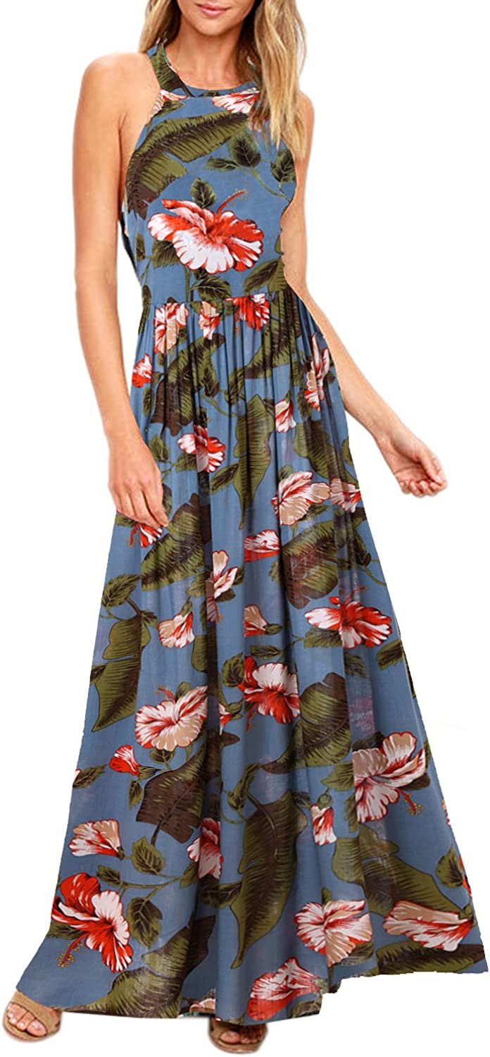 Blooming Jelly Women's Tropical Sleeveless Halter Neck Criss Cross Backless Floral Print Maxi Dress