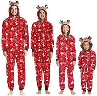 Pijamas Navideños Familiares con Capucha Cálidos de Manga Larga Algodon Pijamas Parejas e Hijos Conjunto Navidad Trajes Papá Mamá Niños y Bebe Reno Jumpsuit Overall (Mamá, XL)