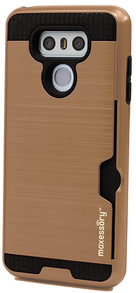 LG G6 2017 Case, Maxessory Rose Gold Enhanced Thin Rigid Tough Reinforced Protective Armor Cover W/Reinforced Bumper Easy-Access Card Holder