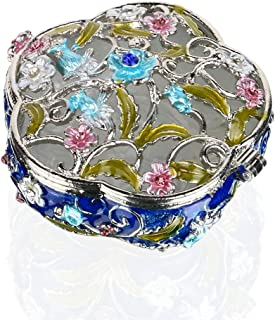 YUFENG Hinged Trinket Box Jeweled Hand-painted Patterns Jewelry Box Bejeweled Box Collectible for Women (flower)
