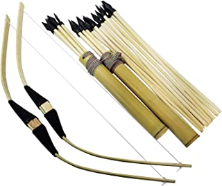 2-Pack Handmade Wooden Bow and Arrow Set-24 Wood Arrows and 2 Quivers