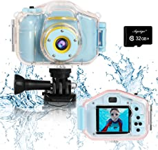 Agoigo Kids Waterproof Camera Toys for 3-12 Year Old Boys Girls Christmas Birthday Gifts Kids Underwater Sports Camcorder Camera HD Children Digital Action Camera 2 Inch Screen with 32GB Card (Blue)