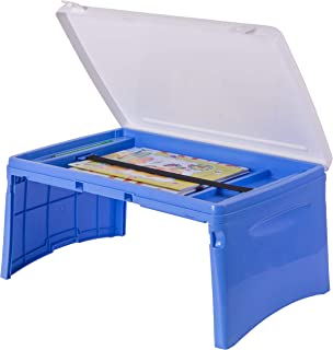 Basicwise QI003430.B Kids Portable Fold-Able Plastic Lap Tray, Blue and White