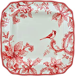 222 Fifth Christmas Lane Holiday Toile Dinnerware | Set of 4 Square Dinner Plates | 10.75
