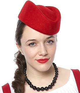 Red Stewardess Pillbox Hat - Air Hostess Uniform Wool Felt Retro Style