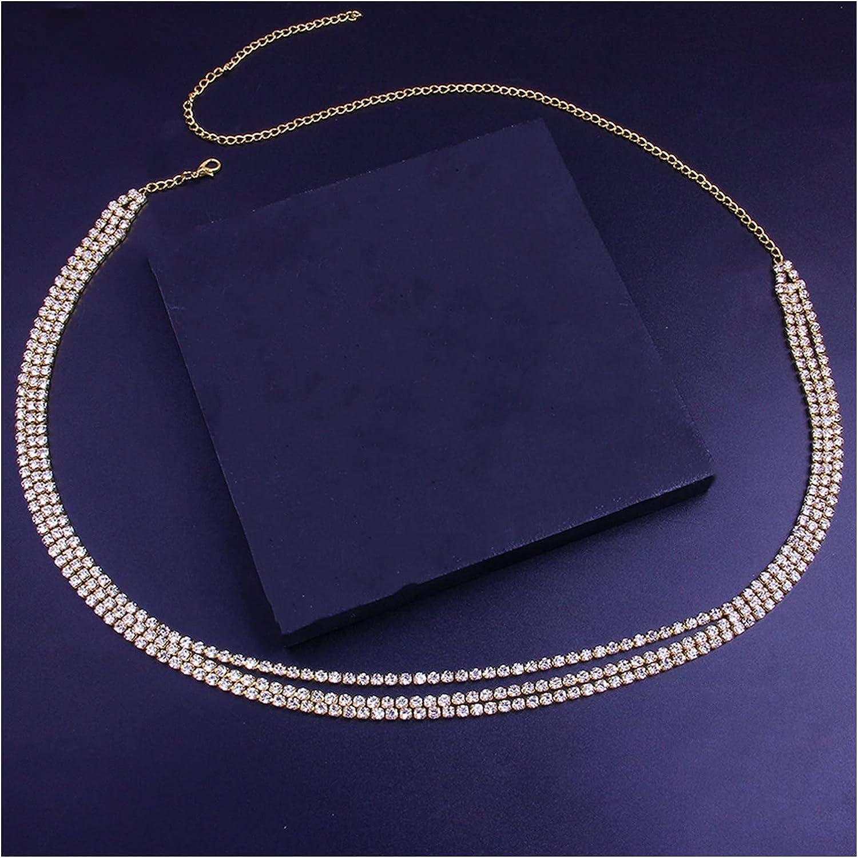 YEZIQ Body Chain- Rhinestone Body Chain Multi Layer Waist Chain for Women Beach Bikini Charm Belly Waist Chain Body Jewelry Belt (Metal Color : Gold-Color)