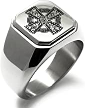 Stainless Steel Celtic Cross Rune Knot Symbol Square Flat Top Biker Style Polished Ring