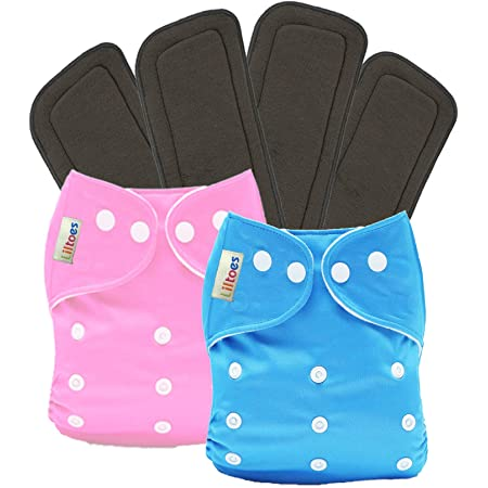 LILTOES® Baby's All in One Washable Reusable Adjustable Cloth 2 Diapers with 4 Inserts (Assorted Colour)