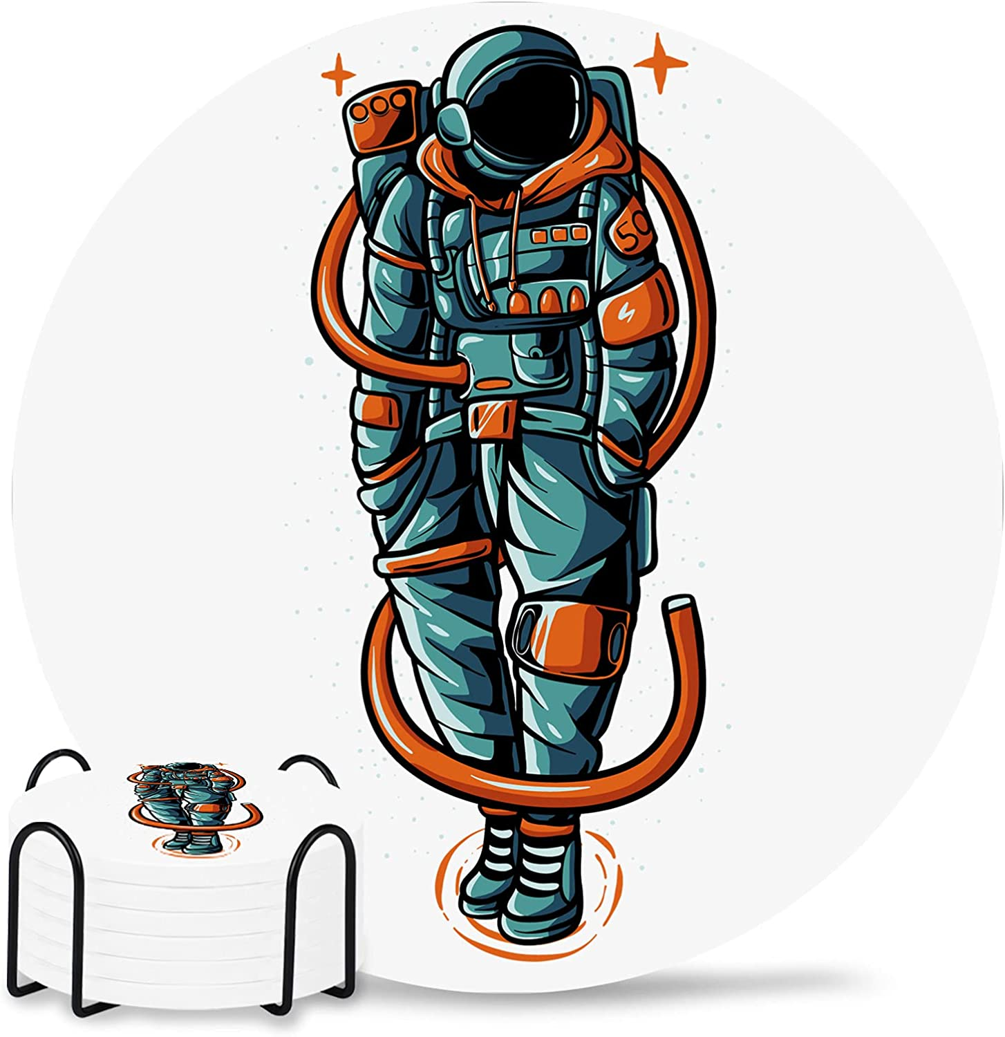 Funny Spaceman 6-Piece Set with Holder Coaster Online limited product security Drinks Absor for