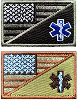 Antrix 2 Pieces Military USA American Flag/EMS EMT Star of Life Medical Paramedic Medic Patches Tactical Embroidered Faste...