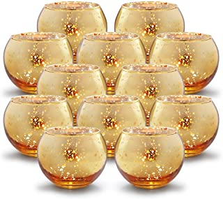 Best Volens Round Gold Votive Candle Holders Bulk, Mercury Glass Tealight Candle Holder Set of 12 for Wedding Decor and Home Decor Review