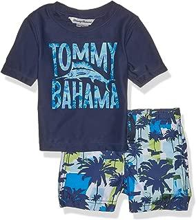 Tommy Bahama Boys' Hawaiian Quarter Zip Sleeve Rash Guard Swim Short Set