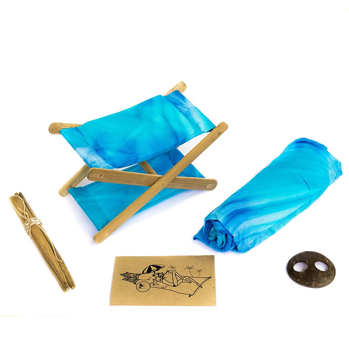 Bali Boo Head Hammock Great to Read During Camping Trip, to Use as Headrest to Read on The Beach   Comes a Matching Sarong in a Bamboo Basket   Handmade in Bali from Natural Bamboo