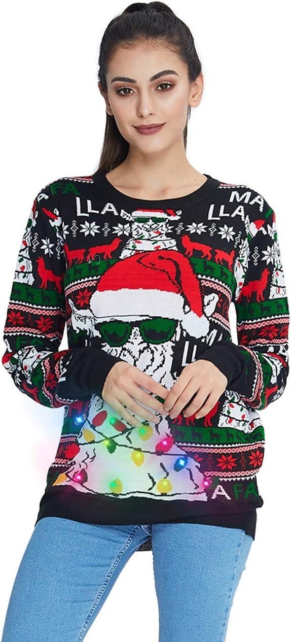 Idgreatim Women Men Ugly LED Christmas Sweater Novelty Light-up Xmas Ugly Christmas Sweaters