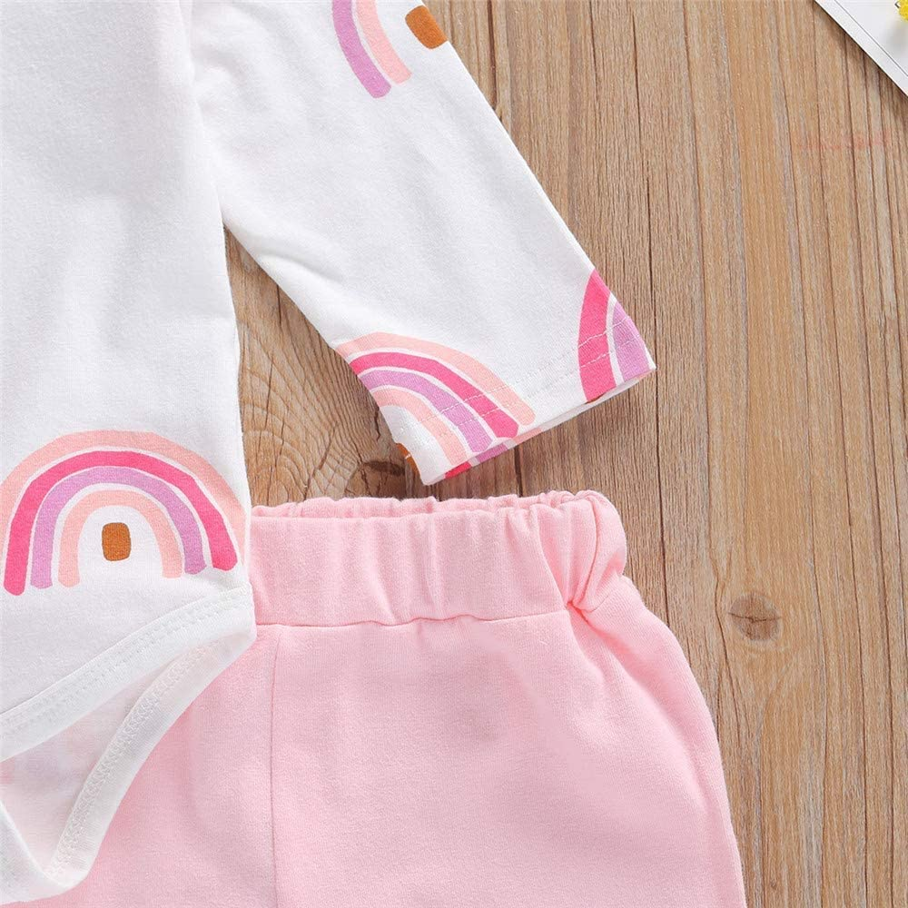 Infant Baby Girl Fall Clothes Ruffle Rainbow Romper Onesie+ Solid Legging Pants Headband Winter Outfit for Babies