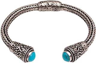 NOVICA Turquoise .925 Sterling Silver Braided Cuff Bracelet 'Dragon Beauty'