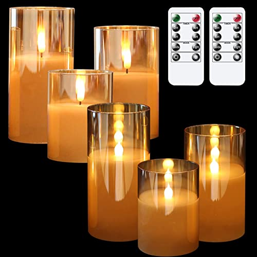 new arrival GenSwin Flameless LED Glass Candles Bundle, 6 Pack Gold Glass Flameless new arrival Candles with 2 Remotes, 3 Inch Diameter 4 5 6 inch high quality Tall outlet sale