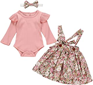 puseky 3pcs Baby Girl Long Sleeve Ruffle Romper + Floral Suspender Skirt + Headband Outfits Set