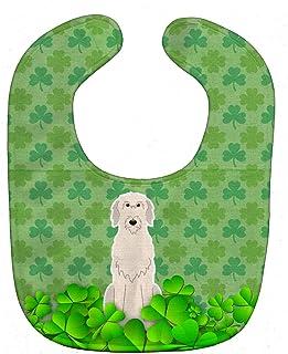 Caroline's Treasures BB6206BIB Shamrocks Baby Bib, Green Irish Wolfhound, Large