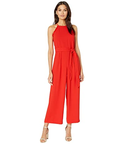 CeCe Sleeveless Ruffled Jumpsuit with Belt (Candy Apple) Women