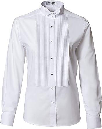Camisa de esmoquin plisada con cuello de ala - blanco - 52 ...
