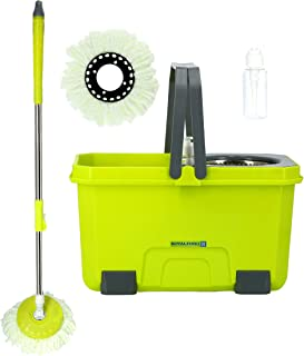 Royalford RF9595 Mop and Bucket Set - Modern Spin 360 Degree Spinning Mop Bucket Home Cleaner| Extended Easy Press Stainle...