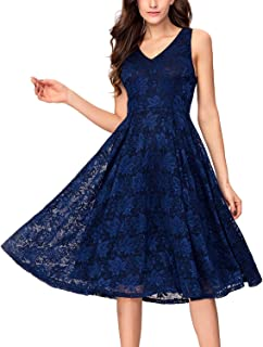 51233dadf76 Noctflos Lace V Neck Fit   Flare Midi Cocktail Dress for Women Party Wedding