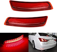iJDMTOY Red Lens 80-SMD LED Bumper Reflector Lights For 13-18 Lexus GS ES, Function as Tail, Brake & Rear Fog Lamps
