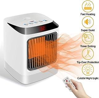 DOOK Calefactor Cerámico 1000W/800W Calentador Ventilador Eléctrico Portátil con Oscilación Automática, 3 Modos para Espacio Pequeño, Dormitorio, Oficina