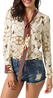 Spring Women's Tops Casual V Neck Floral Long Sleeve Stripe Ribbon Printed Decoration Blouses Chiffon Shirts
