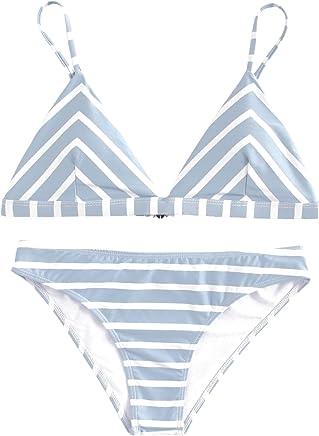 b988b017e0b4b Verochic Women s Adjustable Straps Triangle Stripe Bikini Swimsuits