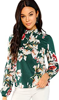 Romwe Women's Floral Print Long Sleeve Keyhole Casual Blouse Top