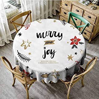 ScottDecor Joy Christmas Tablecloth Christmas Themed Flowers Swirls Stars Celebratory Arrangement Merry Illustration Summer Round Tablecloth Camel Red Black Diameter 54