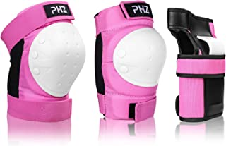 PHZ. Kids/Youth/Adults Protective Gear, Knee Pads and Elbow Pads 6 in 1 Set with Wrist Guard for Rollerblading Skateboard Cycling Skating Bike Scooter