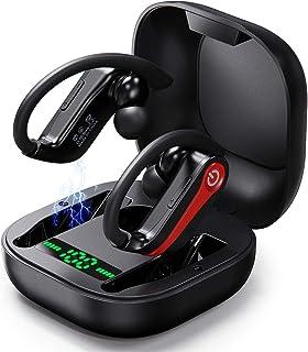 Auriculares Bluetooth, Auriculares Inalámbricos con Pantalla LED Updatde 5.0, Caja de Carga Inalámbrica, Deep Bass Auto Pairing Auriculares Suaves, Adecuado para Correr Deportes