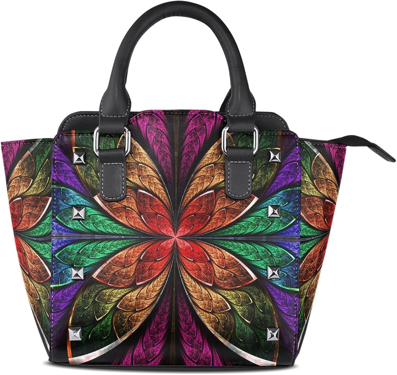 Sunlome bluee Green Red Fractal Flower Print Women's Leather Tote Shoulder Bags Handbags