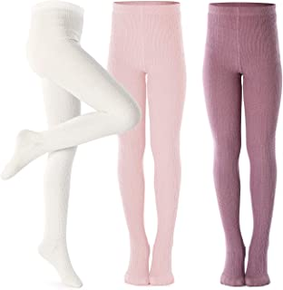 Girls Tights Toddler Cable Knit Cotton Footed Seamless Dance Ballet Baby Girls' Leggings 3 Pack