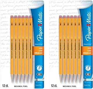Paper Mate SharpWriter Mechanical Pencils, 0.7mm, HB #2, Yellow, 24 Count