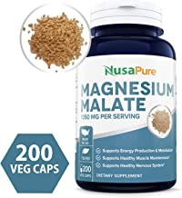 Magnesium Malate 1350mg 200 Veggie Capsules (Non-GMO & Gluten Free) High Potency - Supports Energy Production, Healthy Metabolism, Muscles Function & Nerve Function
