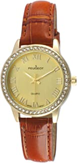 Peugeot Women's Metal Roman Numeral Crystal Leather Dress Watch