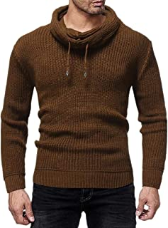 zhaoabao-AU Men Knitting Warm Pile Collar All Match Solid Color Trendy Winter Pullover Sweaters