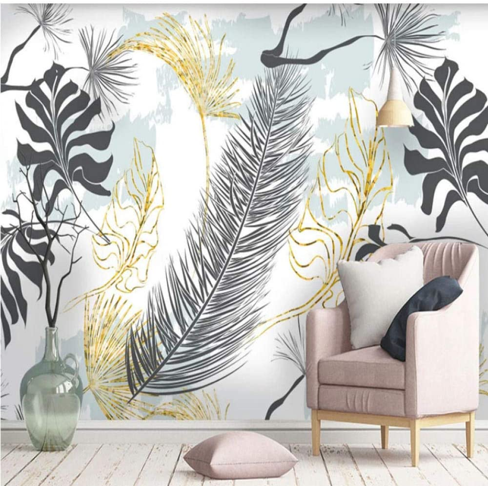 Clhhsy 3D Wallpaper Quality inspection Modern Nordic store Gold Simple Tropical Hand-Pain