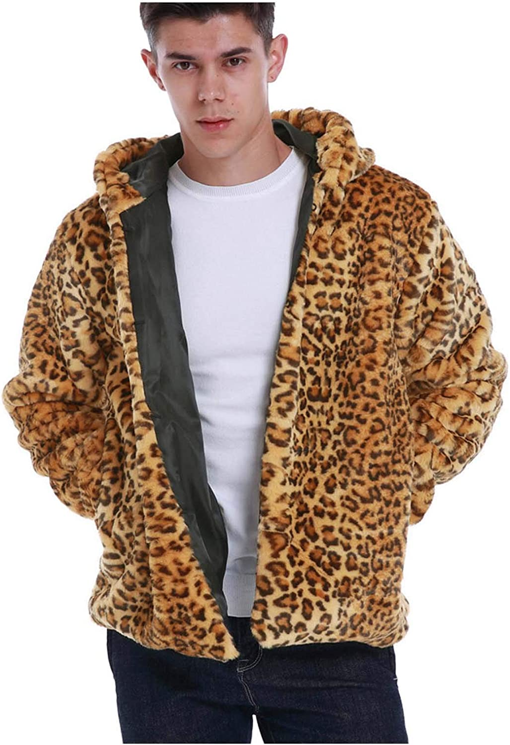 Beshion Mens Casual Sherpa Coat Winter Warm Imitation Fur Leopard Coat Thick Hooded Jacket Big and Tall Outwear Overcoat