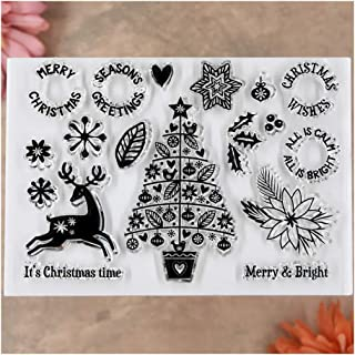 Kwan Crafts Merry Christmas Deer Tree Flowers Clear Stamps for Card Making Decoration and DIY Scrapbooking
